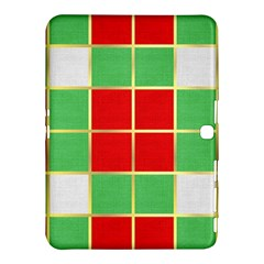 Christmas Fabric Textile Red Green Samsung Galaxy Tab 4 (10 1 ) Hardshell Case
