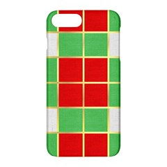 Christmas Fabric Textile Red Green Apple Iphone 7 Plus Hardshell Case by Jojostore