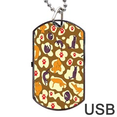 Face Cat Cute Purple Yellow Dog Tag Usb Flash (two Sides)
