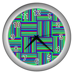 Fabric Pattern Design Cloth Stripe Wall Clocks (silver)  by Jojostore