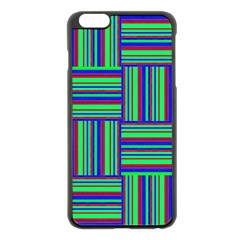 Fabric Pattern Design Cloth Stripe Apple Iphone 6 Plus/6s Plus Black Enamel Case by Jojostore