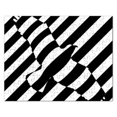 Flaying Bird Black White Rectangular Jigsaw Puzzl by Jojostore