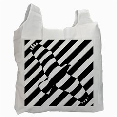 Flaying Bird Black White Recycle Bag (two Side)  by Jojostore