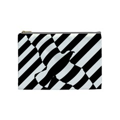 Flaying Bird Black White Cosmetic Bag (medium)  by Jojostore