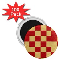 Fabric Geometric Red Gold Block 1 75  Magnets (100 Pack)  by Jojostore
