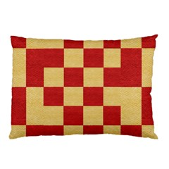 Fabric Geometric Red Gold Block Pillow Case by Jojostore
