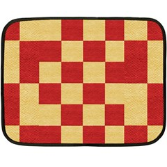 Fabric Geometric Red Gold Block Double Sided Fleece Blanket (mini)  by Jojostore
