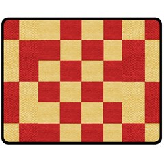 Fabric Geometric Red Gold Block Fleece Blanket (medium)  by Jojostore