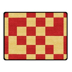 Fabric Geometric Red Gold Block Fleece Blanket (small) by Jojostore