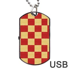 Fabric Geometric Red Gold Block Dog Tag Usb Flash (one Side) by Jojostore