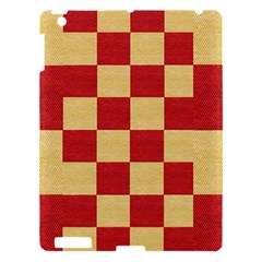 Fabric Geometric Red Gold Block Apple Ipad 3/4 Hardshell Case by Jojostore