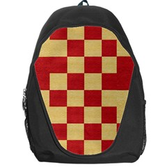 Fabric Geometric Red Gold Block Backpack Bag