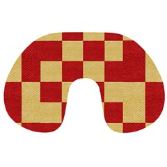 Fabric Geometric Red Gold Block Travel Neck Pillows by Jojostore