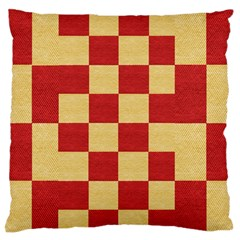 Fabric Geometric Red Gold Block Large Flano Cushion Case (two Sides) by Jojostore