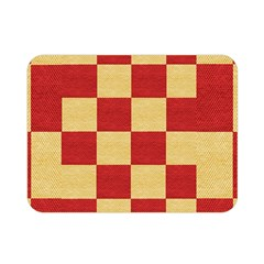 Fabric Geometric Red Gold Block Double Sided Flano Blanket (mini)  by Jojostore