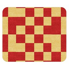 Fabric Geometric Red Gold Block Double Sided Flano Blanket (small)  by Jojostore