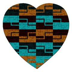 Fabric Textile Texture Gold Aqua Jigsaw Puzzle (heart) by Jojostore