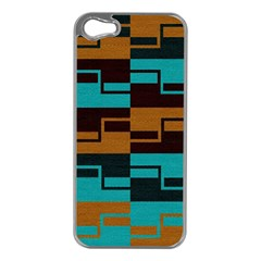 Fabric Textile Texture Gold Aqua Apple Iphone 5 Case (silver) by Jojostore