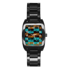 Fabric Textile Texture Gold Aqua Stainless Steel Barrel Watch by Jojostore
