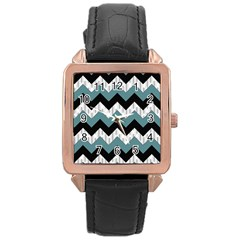 Green Black Pattern Chevron Rose Gold Leather Watch
