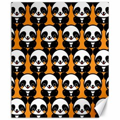 Halloween Night Cute Panda Orange Canvas 8  X 10  by Jojostore