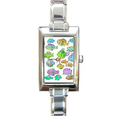 Fishes Col Fishing Fish Rectangle Italian Charm Watch by Jojostore