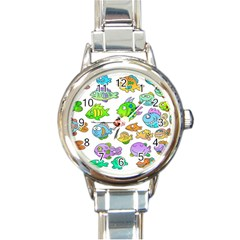 Fishes Col Fishing Fish Round Italian Charm Watch by Jojostore