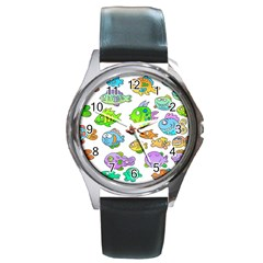 Fishes Col Fishing Fish Round Metal Watch by Jojostore