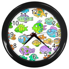 Fishes Col Fishing Fish Wall Clocks (black) by Jojostore