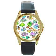 Fishes Col Fishing Fish Round Gold Metal Watch by Jojostore