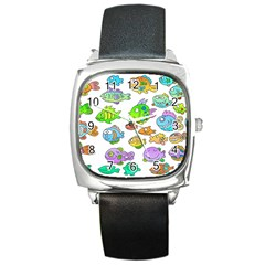 Fishes Col Fishing Fish Square Metal Watch by Jojostore