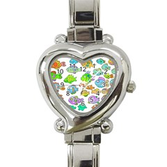 Fishes Col Fishing Fish Heart Italian Charm Watch by Jojostore