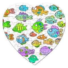 Fishes Col Fishing Fish Jigsaw Puzzle (heart) by Jojostore