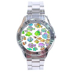Fishes Col Fishing Fish Stainless Steel Analogue Watch by Jojostore