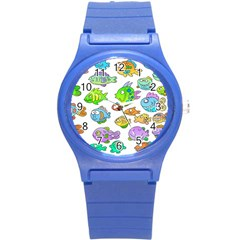 Fishes Col Fishing Fish Round Plastic Sport Watch (s) by Jojostore