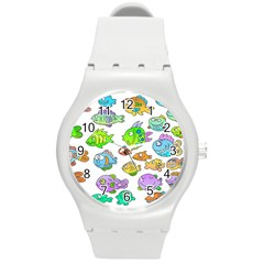Fishes Col Fishing Fish Round Plastic Sport Watch (m) by Jojostore