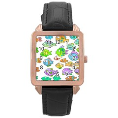 Fishes Col Fishing Fish Rose Gold Leather Watch  by Jojostore