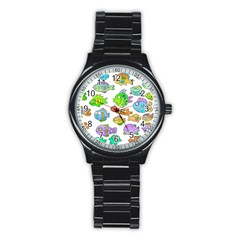 Fishes Col Fishing Fish Stainless Steel Round Watch by Jojostore