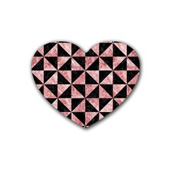 Triangle1 Black Marble & Red & White Marble Rubber Heart Coaster (4 Pack) by trendistuff