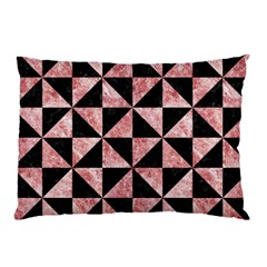Triangle1 Black Marble & Red & White Marble Pillow Case by trendistuff