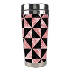 Triangle1 Black Marble & Red & White Marble Stainless Steel Travel Tumbler by trendistuff