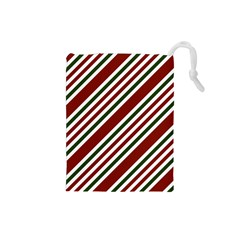 Line Christmas Stripes Drawstring Pouches (small)