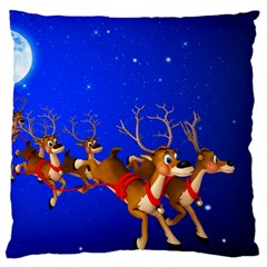 Holidays Christmas Deer Santa Claus Horns Large Cushion Case (one Side)