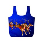 Holidays Christmas Deer Santa Claus Horns Full Print Recycle Bags (S)  Back
