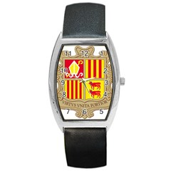 Coat Of Arms Of Andorra Barrel Style Metal Watch by abbeyz71