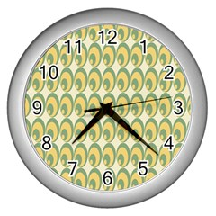 Pattern Circle Green Yellow Wall Clocks (silver)  by Jojostore