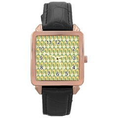 Pattern Circle Green Yellow Rose Gold Leather Watch