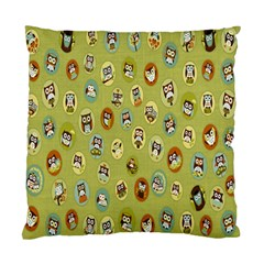 Owl Round Green Standard Cushion Case (two Sides) by Jojostore