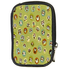 Owl Round Green Compact Camera Cases by Jojostore