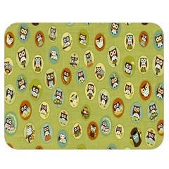 Owl Round Green Double Sided Flano Blanket (medium)
